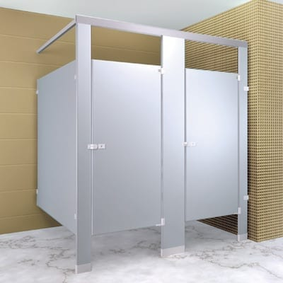 floor mounted overhead brace toilet partitions