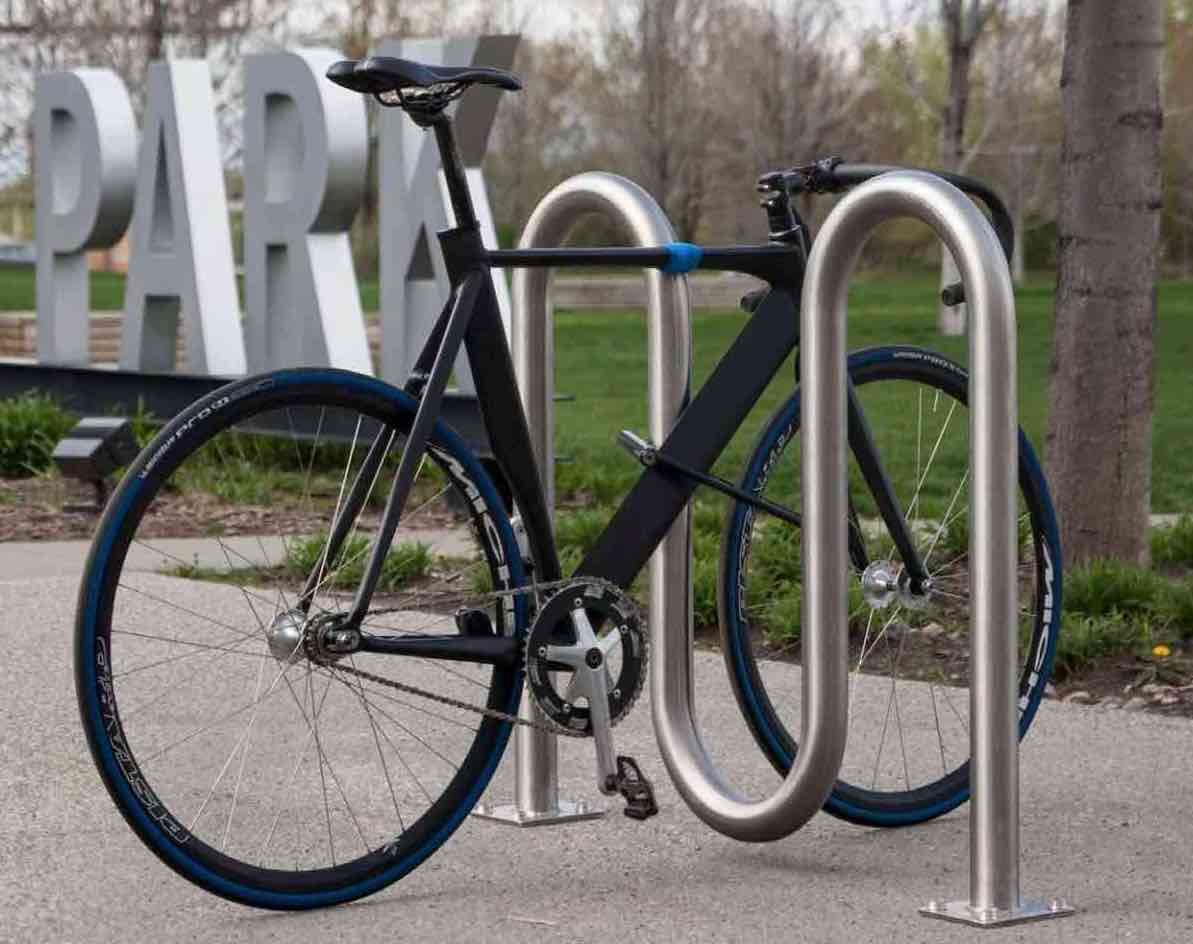 bike rack with bicycle
