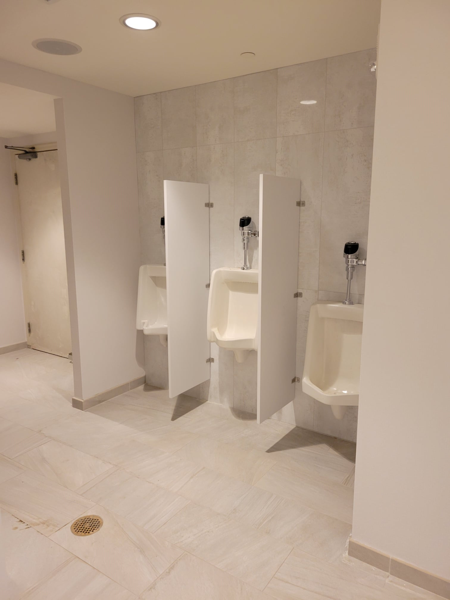 White Urinals and Urinal Dividers